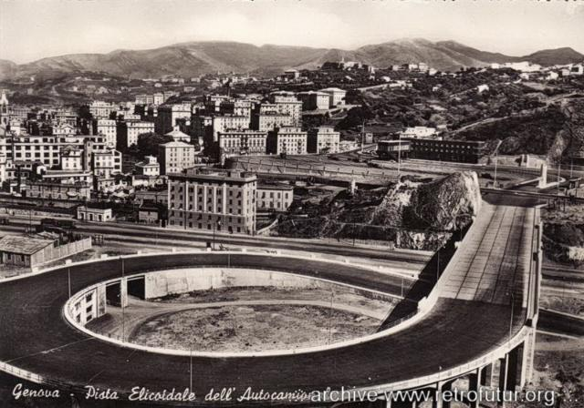 1932 - 1935: Building of mountain Highway Genova - Serravalle  (today A7) : Genova Sampierdarena - Rampa eliciodale