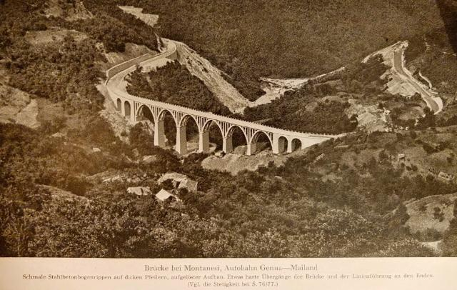 1932 - 1935: Building of mountain Highway Genova - Serravalle  (today A7) : Br�cke Montanesi Autobahn Genua-Mailand